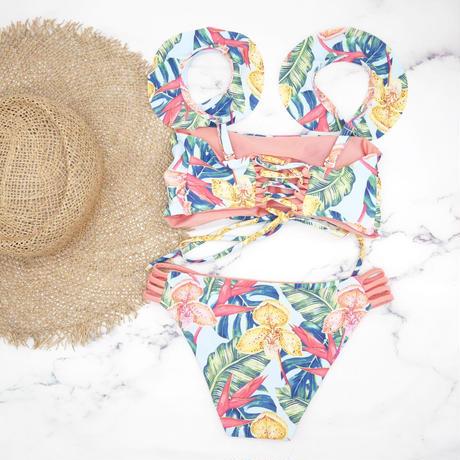即納 Jointed frill reversible bandeau bikini Tropical