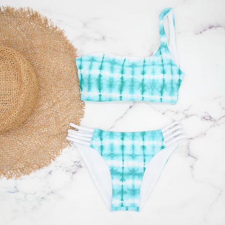 即納  One shoulder reversible tie up bikini Turquoise paint