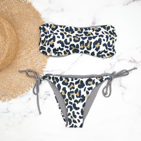即納 11Way string bandeau reversible bikini Leopard