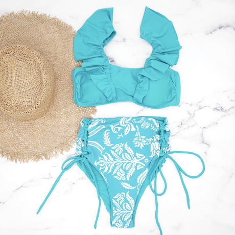 即納 V-line frill high waist reversible bikini Pure blue