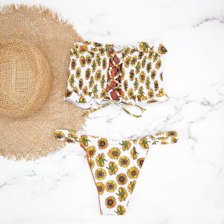 即納 Shirring bandeau brazilian bikini Sunflower