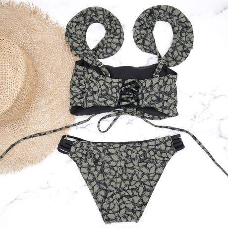 即納 Joint frill reversible bandeau bikini Paint