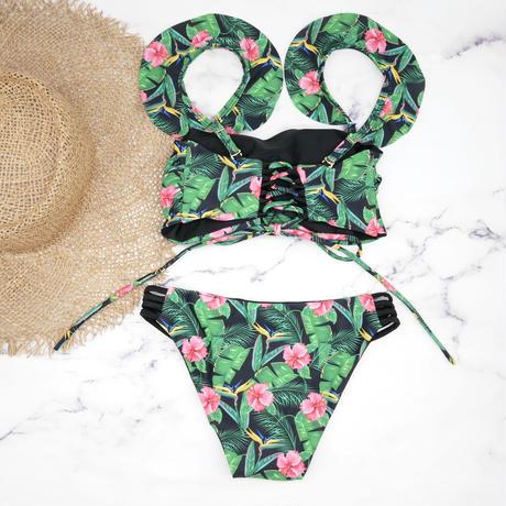 即納 Jointed frill reversible bandeau bikini Green leaf