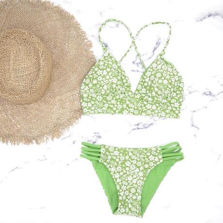 即納 A-string reversible long under bikini Natural green
