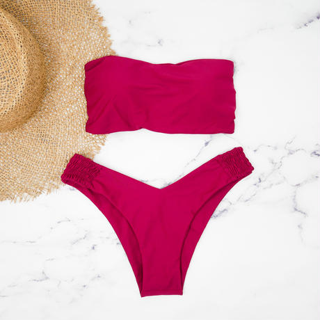 即納 Long strap solid bandeau bikini Wine Red
