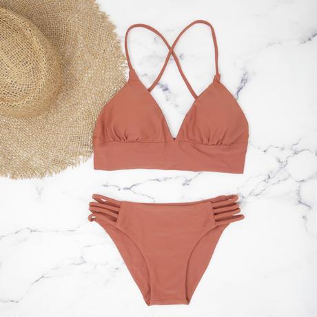 即納 A-string long under solid bikini Red brown