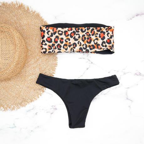 即納 Tube top reversible bandeau bikini Bright leopard