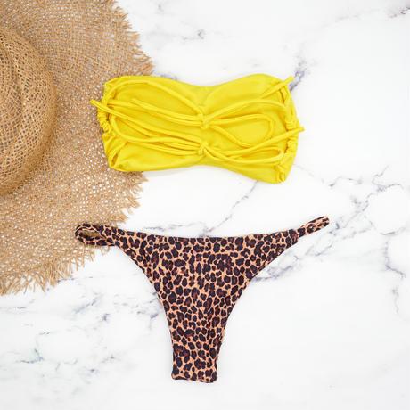 即納 Double strap bandeau bikini Animal yellow