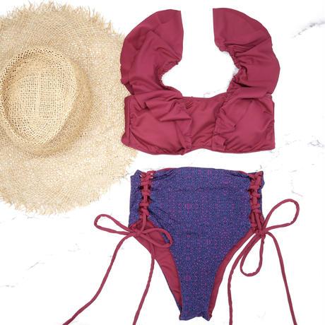 即納 V-line frill high waist reversible bikini Purple