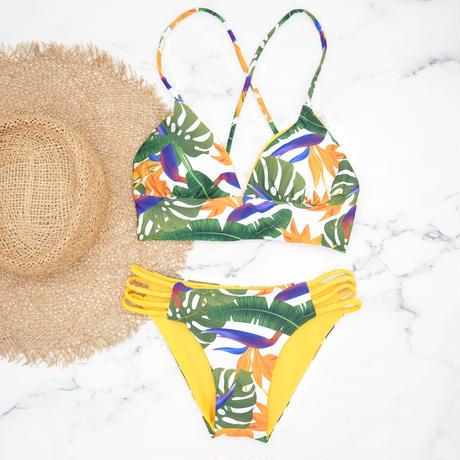 即納 A-string reversible long under bikini Yellow tropical