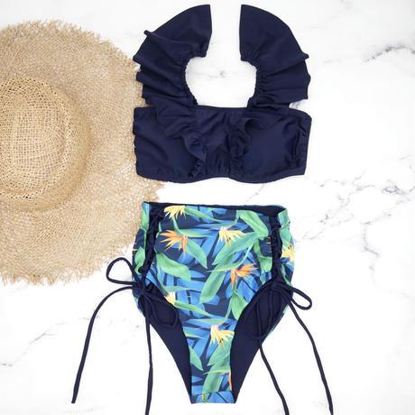 即納 V-line frill high waist reversible bikini Blue nature