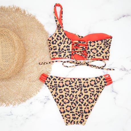 即納  One shoulder reversible tie up bikini Modern leopard