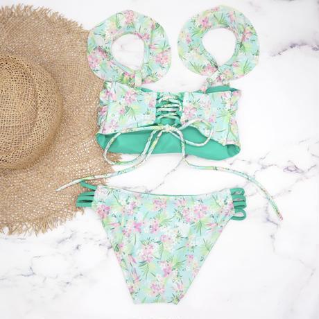 即納 Jointed frill reversible bandeau bikini Nature