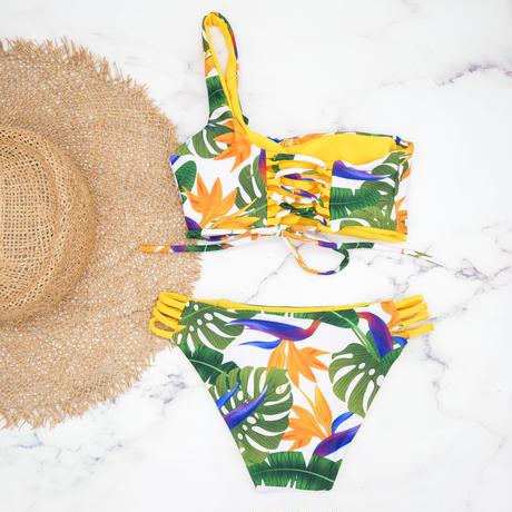 即納  One shoulder reversible tie up bikini Yellow tropical