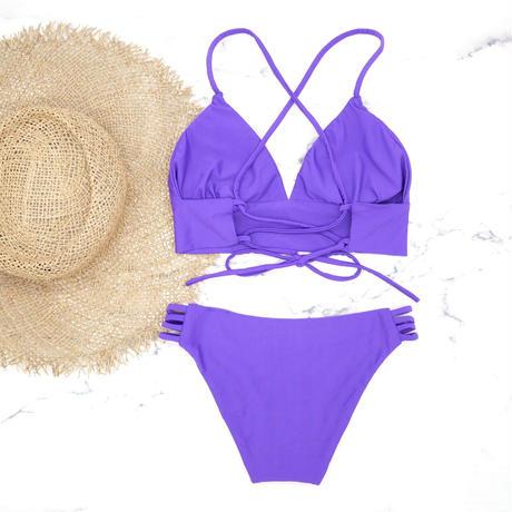 即納 A-string long under solid bikini Violet