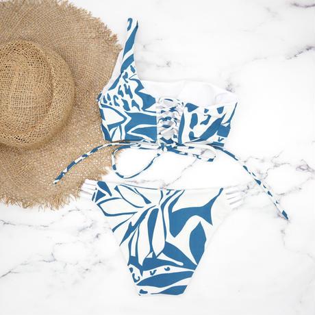 即納  One shoulder reversible tie up bikini Blue leaf