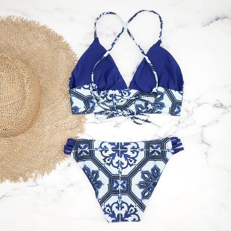即納 A-string reversible long under bikini Moroccan blue