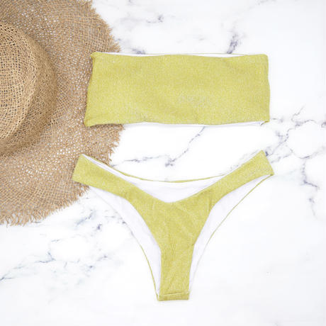 即納 Tube top bandeau brazilian bikini Lame Yellow