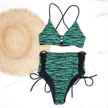 即納 A-string reversible high waist bikini Green