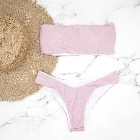 即納 Tube top bandeau brazilian bikini Lame pink