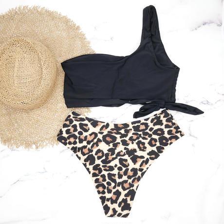 即納 Side tie up one shoulder bikini Leopard