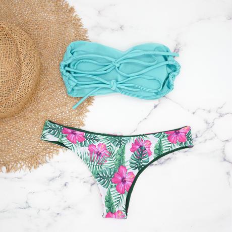 即納 Double strap bandeau bikini Sky tropical