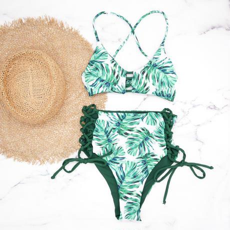 即納 A-string reversible high waist bikini Green reef