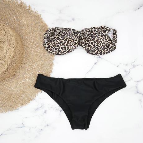 即納 Short frill desing bandeau bikini Leopard