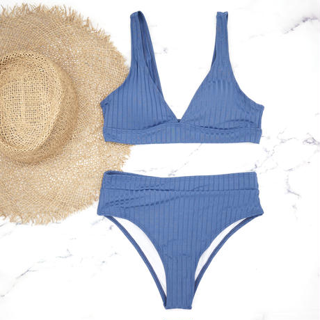 即納 Rib knit style high waist bikini Deep