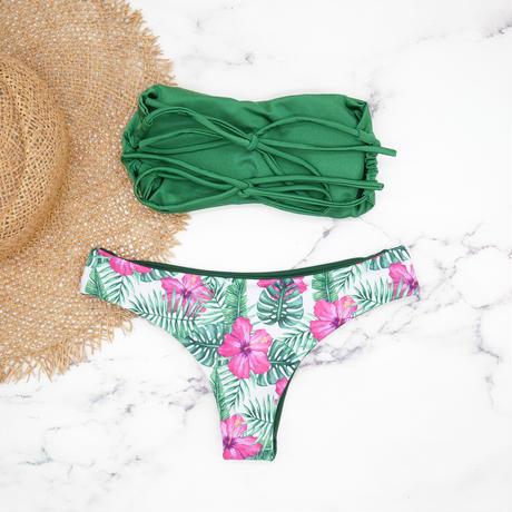 即納 Double strap bandeau bikini Green tropical