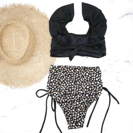 即納 V-line frill high waist reversible bikini Brown Dot
