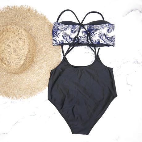 即納 Separate desing bandeau bikini Navy Leaf