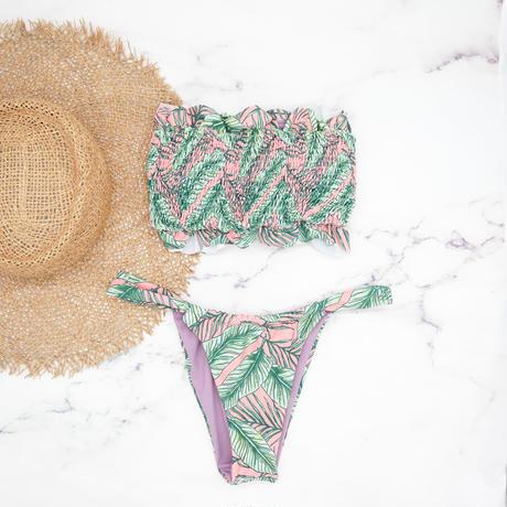 即納 Shirring bandeau brazilian bikini  Pinky leaf