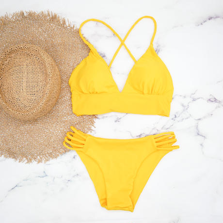 即納 A-string long under solid bikini Yellow
