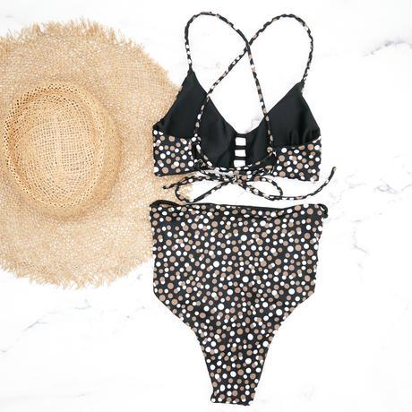 即納 A-string reversible high waist bikini Brown dot