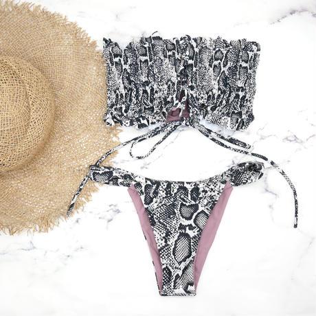 即納 Shirring bandeau brazilian bikini Python