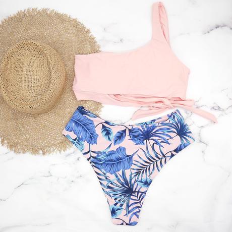 即納 Side tie up one shoulder bikini Pinky leaf