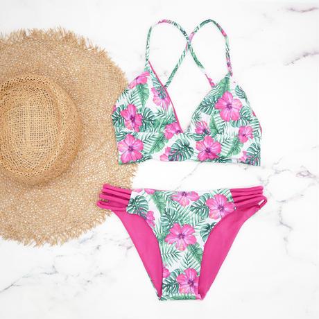 即納 A-string reversible long under bikini Vivid hibiscus