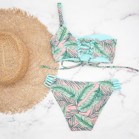 即納  One shoulder reversible tie up bikini Sky leaf