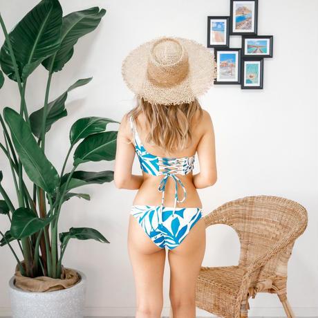 即納  One shoulder reversible tie up bikini Purple tropical