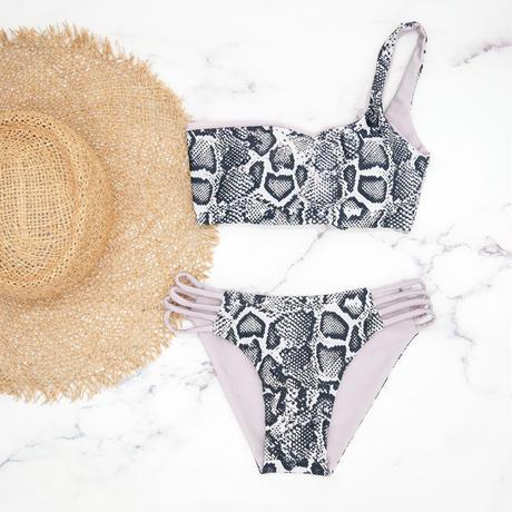即納  One shoulder reversible tie up bikini Python