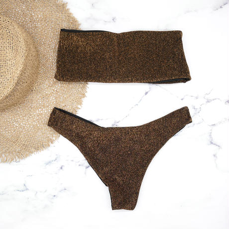 Tube top bandeau brazilian bikini Lame Brown