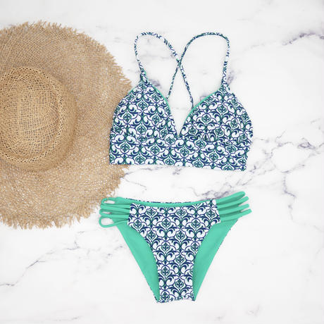 即納 A-string reversible long under bikini Royal green