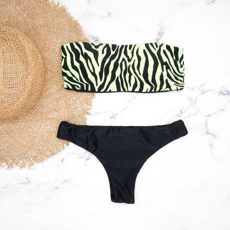 即納 Tube top reversible bandeau bikini  Neon zebra