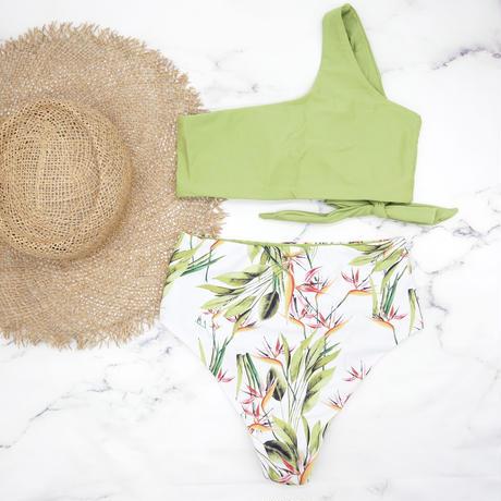 即納 One shoulder high waist bikini Bright green