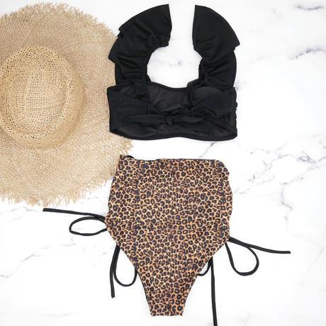即納 V-line frill high waist reversible bikini Animal
