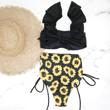即納 V-line frill high waist reversible bikini Sunflower