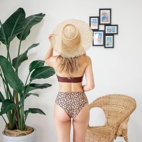 即納 High waist ribboned bandeau bikini Nude leopard