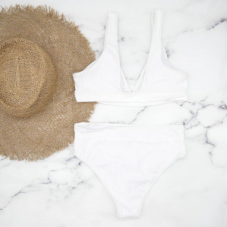 即納 Rib knit style high waist bikini White