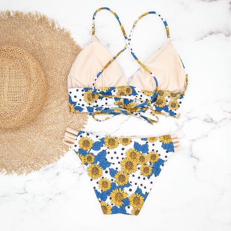 即納 A-string reversible long under bikini Flower beige